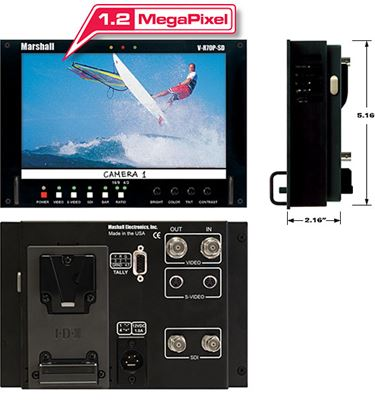 Изображение V-R70P-HDSDI-AB HD 7' Wide Screen LCD Monitor with HDSDI/SD Input and Anton Bauer Battery Mount